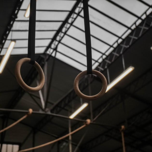 Gymnastic Rings hanging down from the Ceiling.