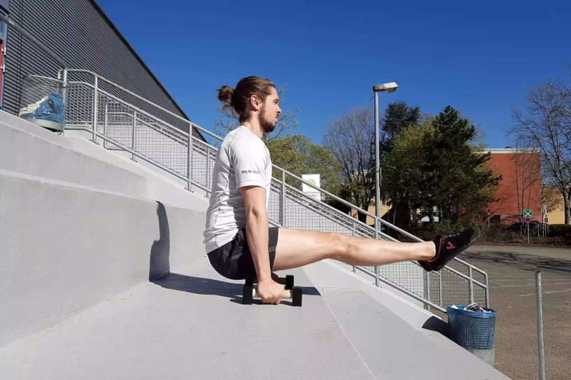 Me doing an L-Sit to improve my core strength.
