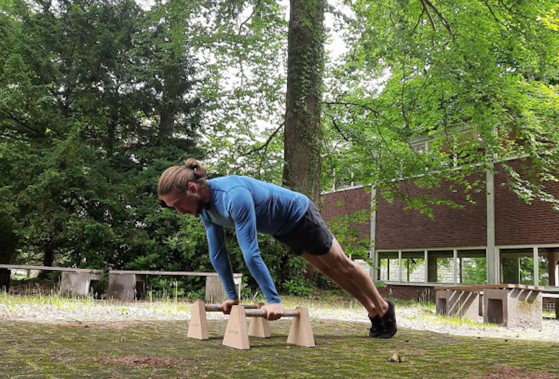 This image shows me in the top position of a  pushup.