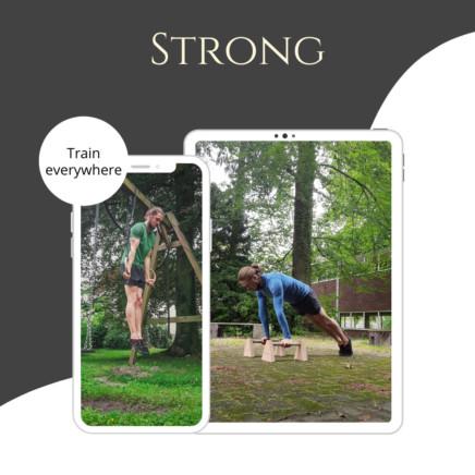 One Product image of my Foundation program showing calisthenics strength exercises.
